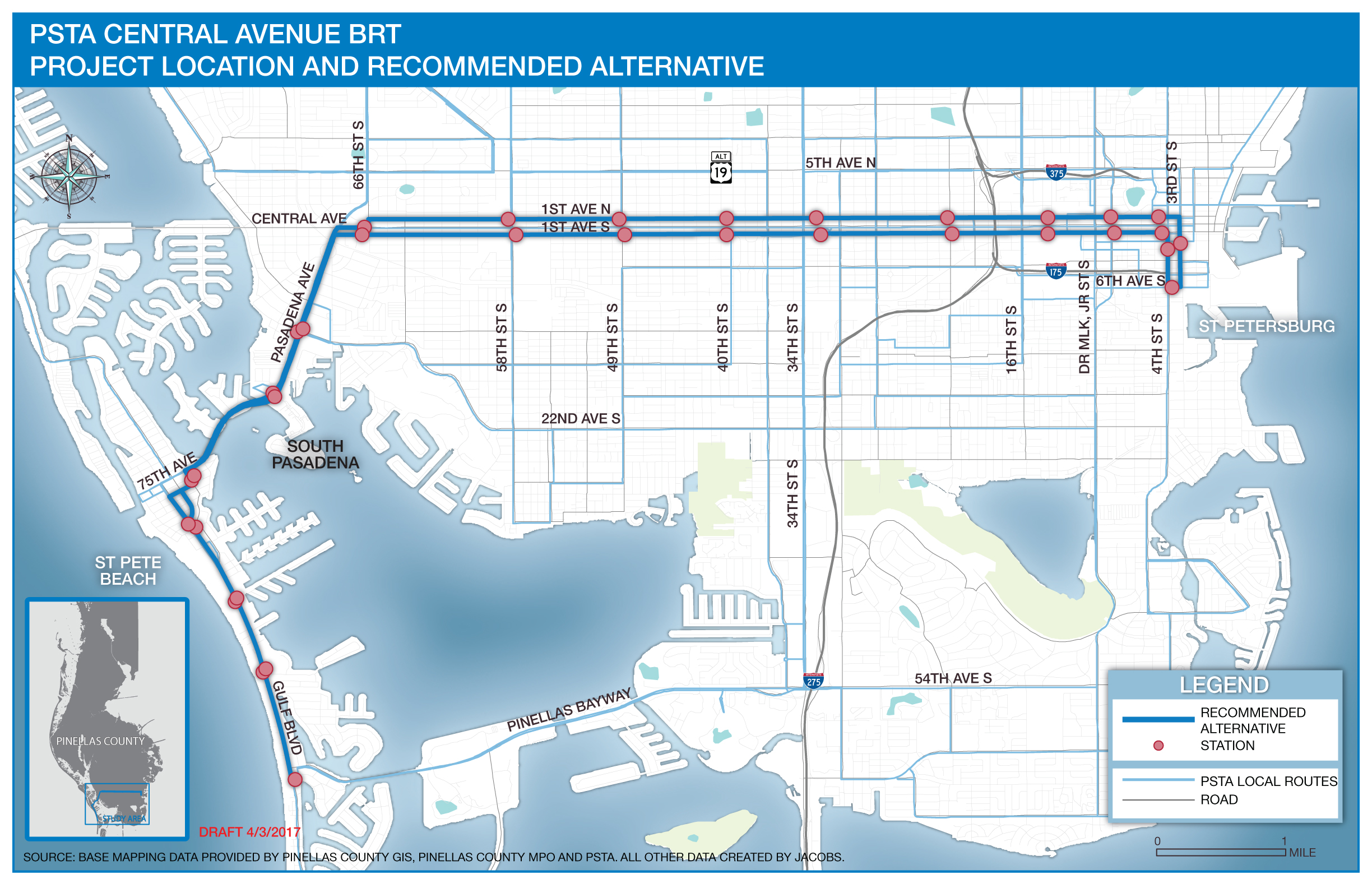 PSTA Central Avenue BRT: Project Location and Recommended Alternative Map